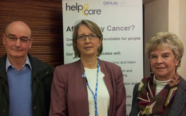 L to R Graham Willett, Chair Dorset Local Cancer Champions Board, Ros Pugh, Consultant for End of Life Care at Royal Bournemouth and Christchurch Hospitals, Margaret Wright, volunteer advocate