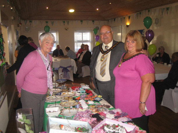 Macmillan Cancer Support fundraiser, Cath Mansell with Mayor Cllr Derek Rowley and his consort Mrs. Glenis Rowley