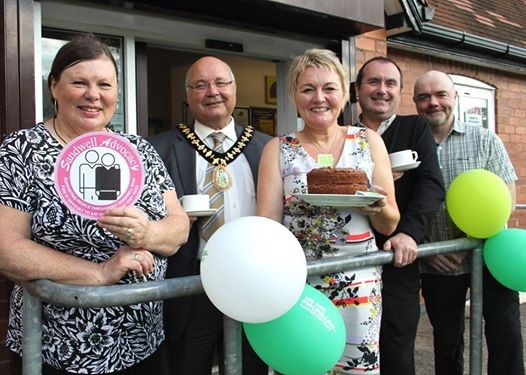 Lesley Donnelly, SCOPA Chair; Mayor Cllr Derek Rowley; Juanita Williams, volunteer coordinator; Dave Bradshaw, Project Manager; Paddy Elmore, SCOPA Independent Advocate