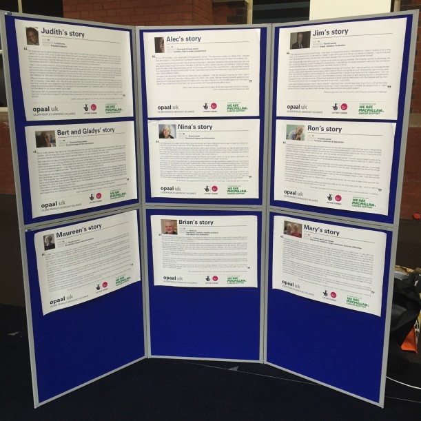Our display board with stories of older people affected by cancer