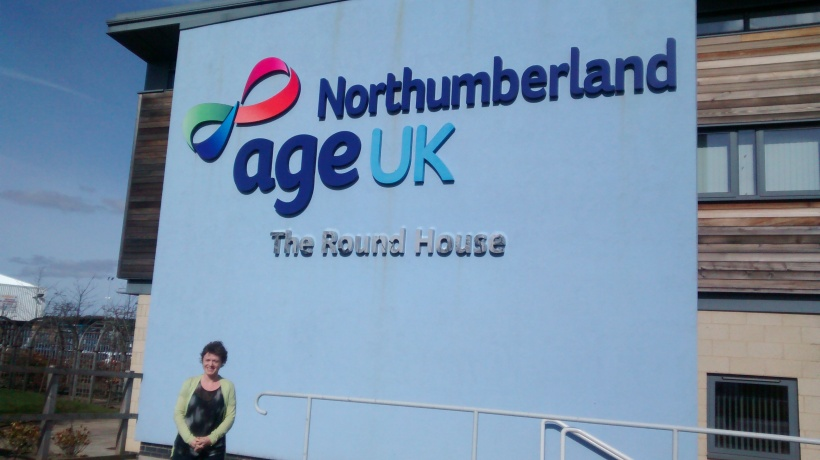 Deb McGarrity of AgeUK Northumberland in front of the Round House, AUKN's headquarters