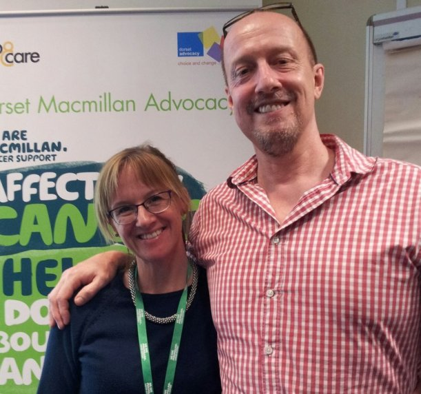 Jen Rimmer, Senior Advocate, Dorset Macmillan Advocacy and Dr Paul Barker, Macmillan GP