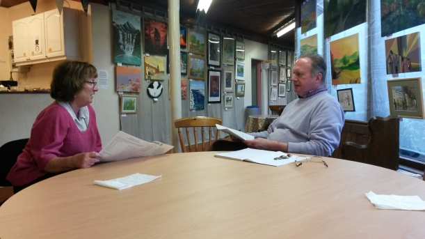 Volunteers Sarah Humphreys and Nicholas Johnson carrying out mock interviews