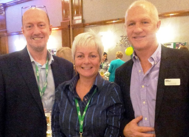 Dorset Macmillan GPs Dr Paul Barker and Dr Simon Pennel with Kathleen Gillett of DMA